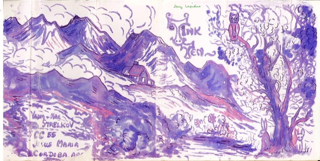 Purple landscape of mountains with tree and owl in foreground