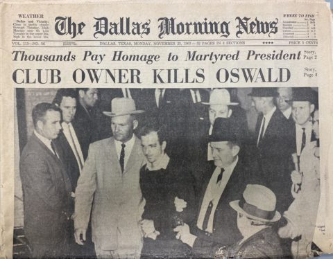 Newspaper headline reading