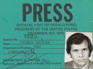 """green card with black and white photo of Brokaw and large black word """"Press"""" at top"""