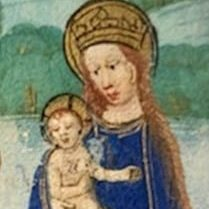 portrait of Mary and Jesus in medieval manuscript