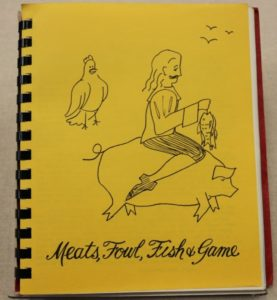Bright yellow cover with a drawing of a man riding a pic