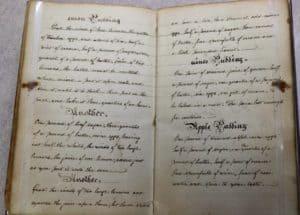 Inside culinary manuscript with cursive handwriting