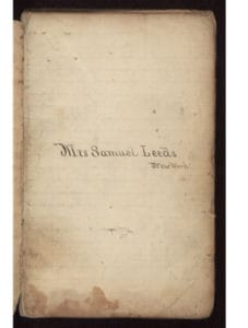 "Manuscript with text ""Mrs. Samuel Leeds"" written on page"