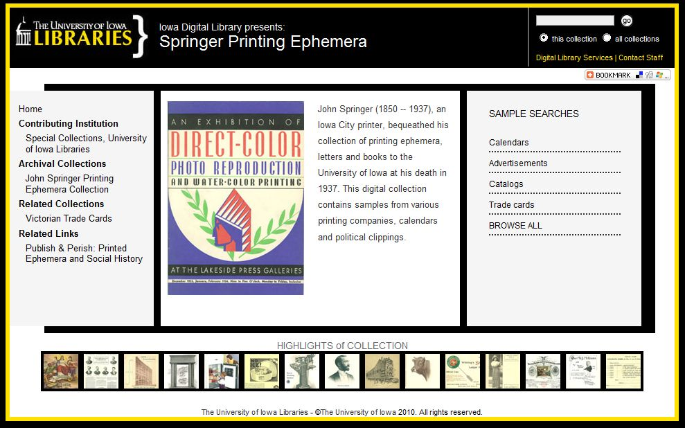 Springer Printing Ephemera Digital Collection