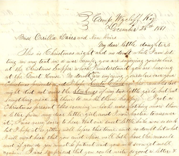 Andrew F. Davis letter to daughters, Dec. 25, 1861 | Civil War Diaries and Letters
