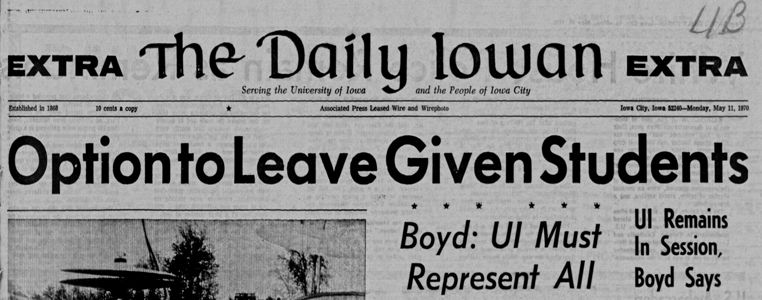 Daily Iowan front page May 11, 1970