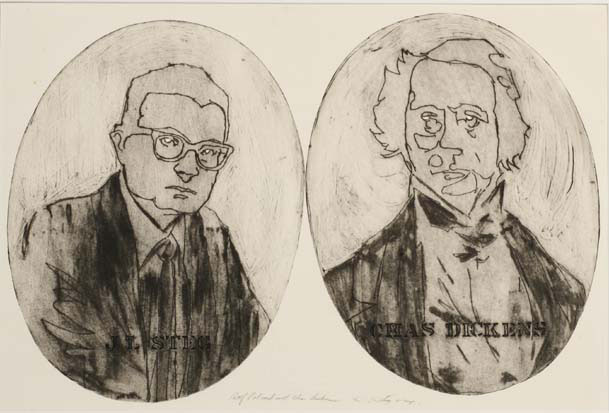 Self portrait with Charles Dickens, by James Louis Steg, 1964 | University of Iowa Museum of Art
