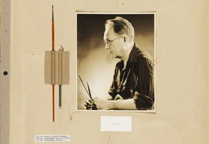 Grant Wood portrait with brush and dental instrument used for painting, 1940s | Figge Art Museum Grant Wood Digital Collection