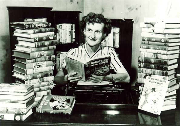 Nancy Drew author Mildred Wirt Benson among her books, Toledo, 1949 | Mildred Wirt Benson Collection