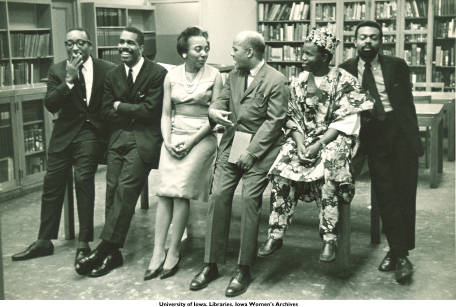 Members_of_Black_Writers_panel_chatting_Countee_Cullen_Branch_of_New_York_Public_Library_New_York_NY_May_1963