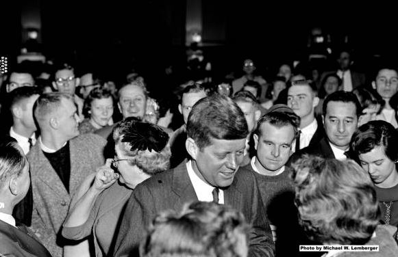 Senator John F. Kennedy talks to supporters, University of Iowa, Nov. 21, 1959. Photo (c) Michael W. Lemberger  |  Michael W. Lemberger Photographs