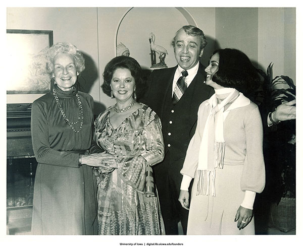 Mary Louise Smith, Shirley Temple Black, Jerry Mursener, and Paula Travis at party fund-raiser, Iowa, November, 1977