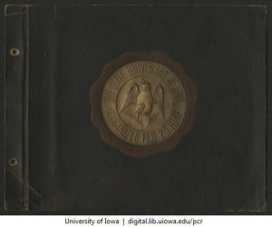 Patrobas Cassius Robinson college scrapbook cover, 1923-1928