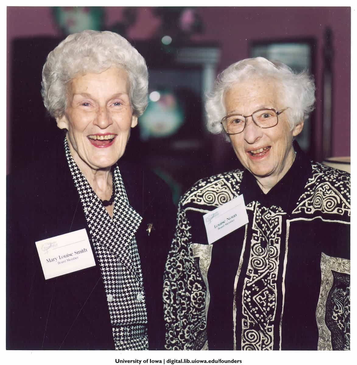Mary Louise Smith and Louise Noun, Des Moines, Iowa, October 1, 1996. University of Iowa Libraries. Iowa Women's Archives.
