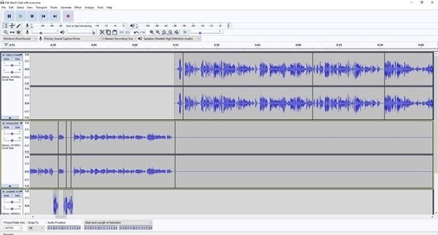 Screen Shot of Audacity Program